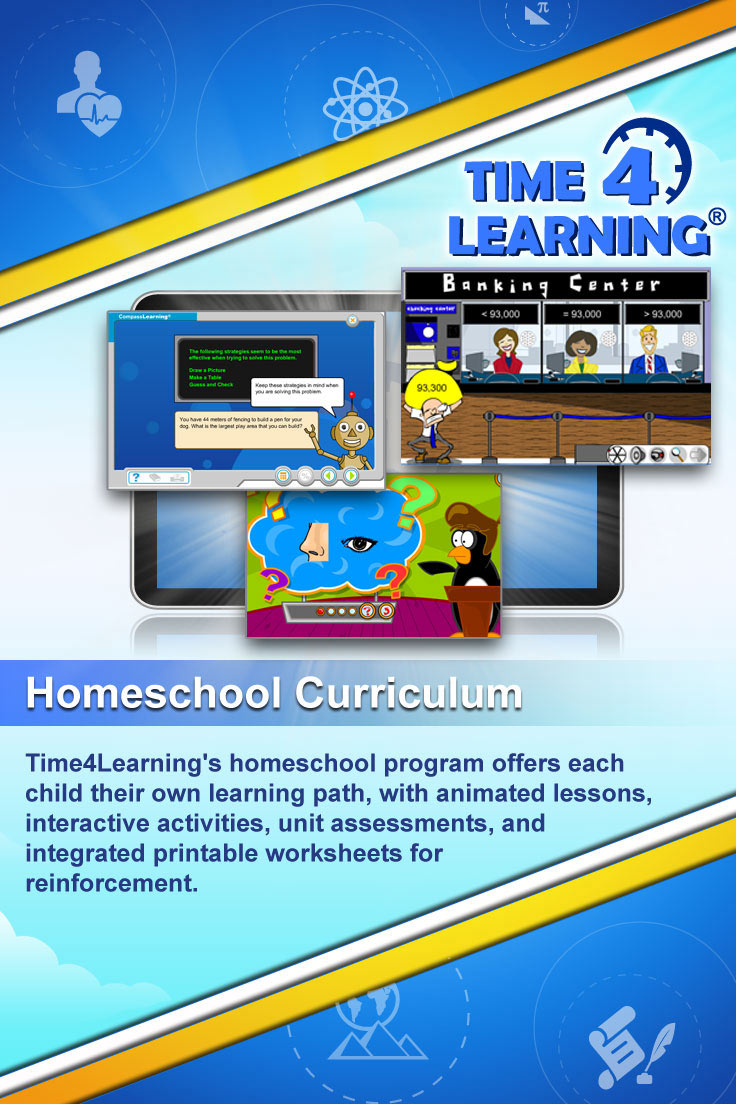 Time4Learning's homeschool program offers each child their own learning path, with animated lessons, interactive activities, unit assessments, and integrated printable worksheets for reinforcement.