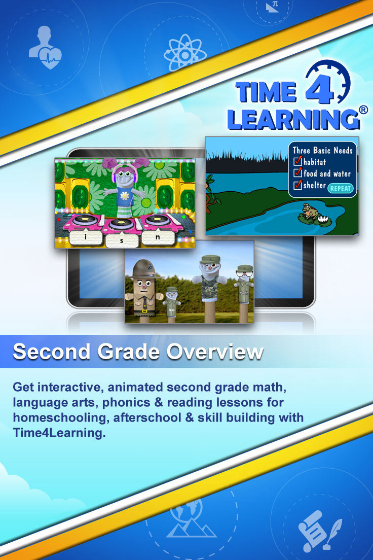 Get interactive, animated second grade math, language arts, phonics & reading lessons for homeschooling, afterschool & skill building with Time4Learning
