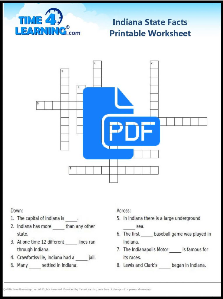 Free Printable Indiana state facts crossword