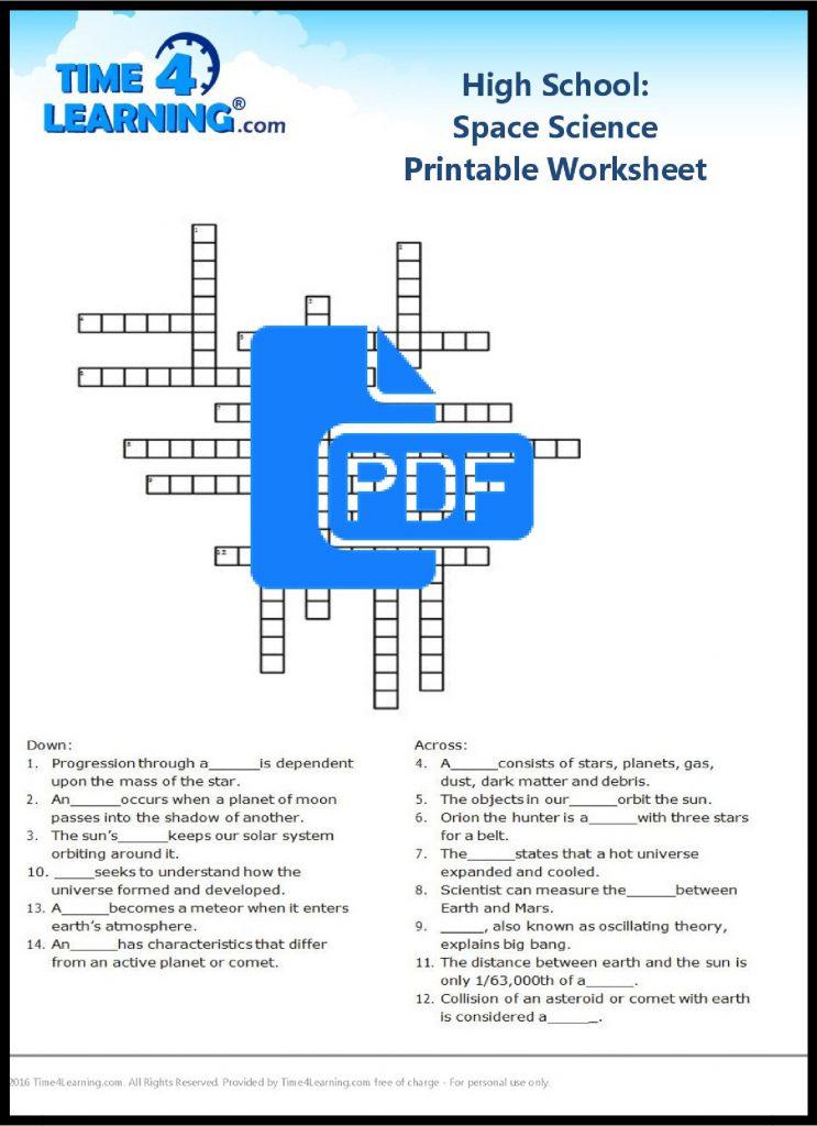 Free space science printable worksheet