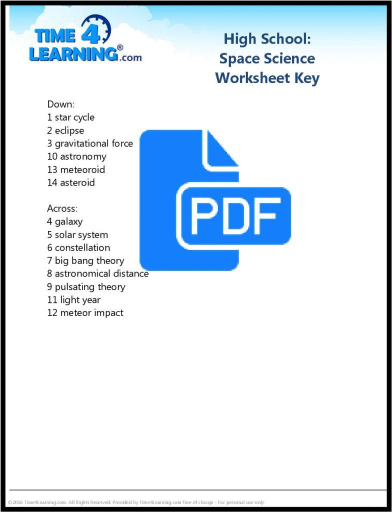Free Space Science Printable Worksheet - key