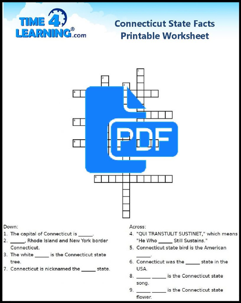 Free Printable Connecticut State Fact Crossword