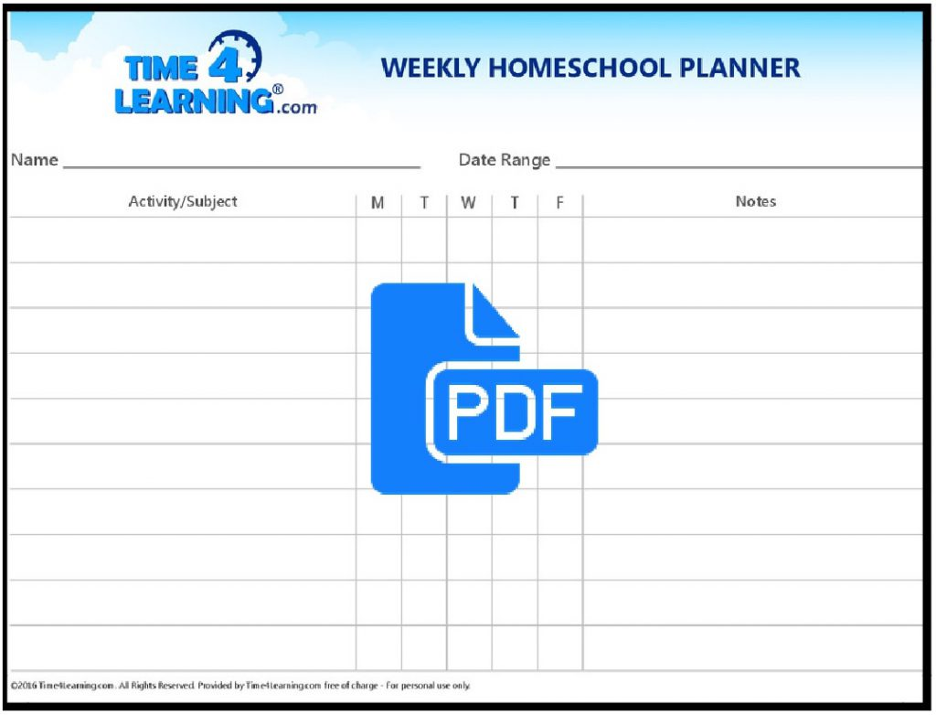 free printable  weekly homeschool planner