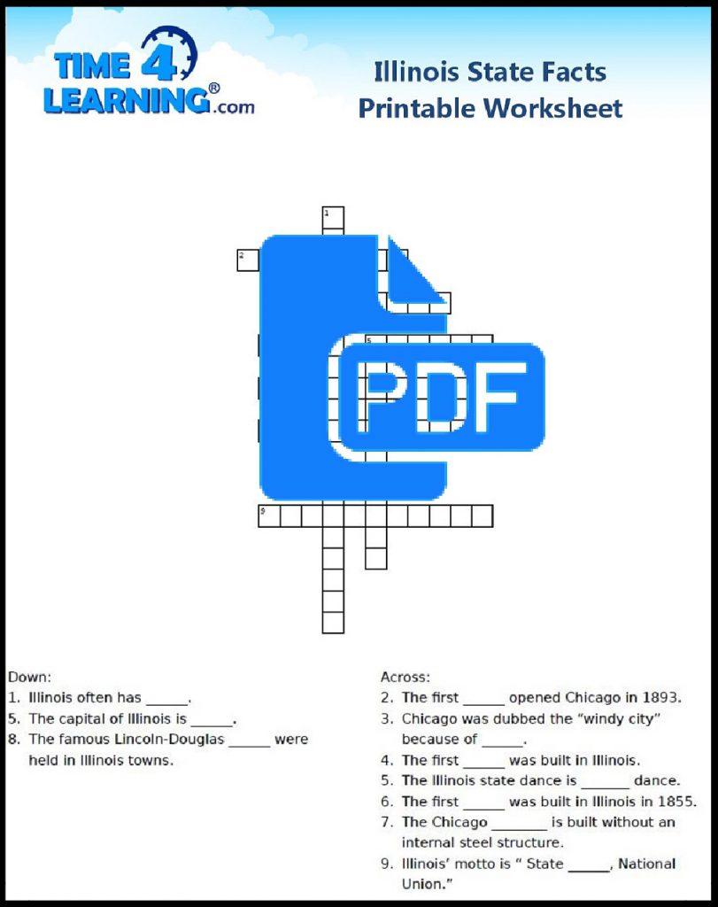 Free Printable Illinois State Fact Crossword