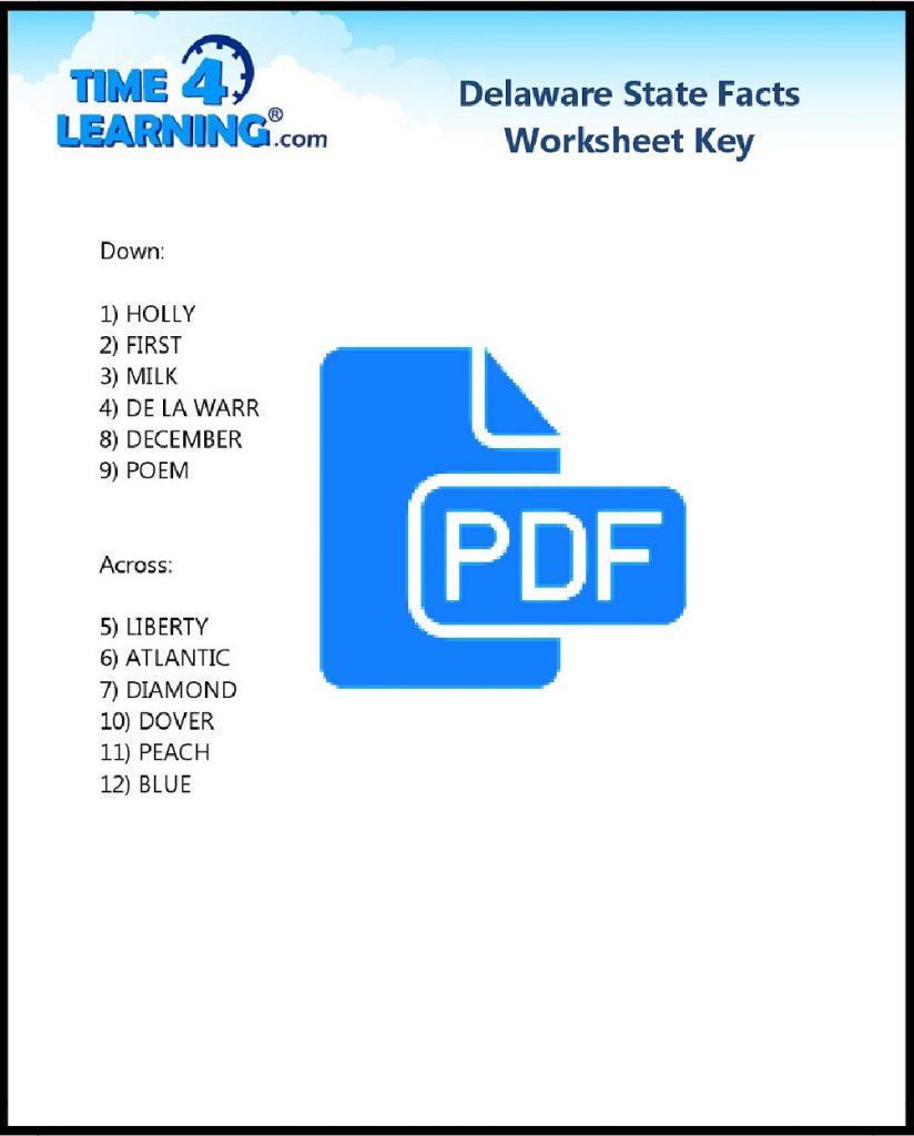 Free Printable Delaware State Fact Crossword Key
