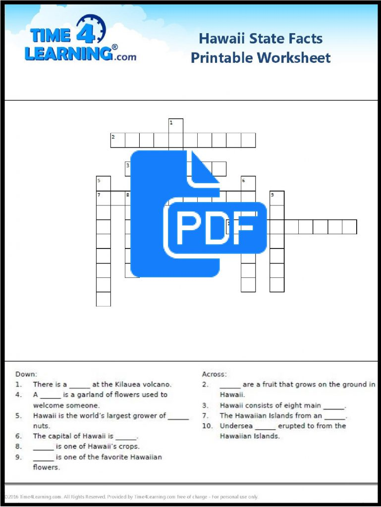 free printable hawaii state facts crossword time4learning. Black Bedroom Furniture Sets. Home Design Ideas