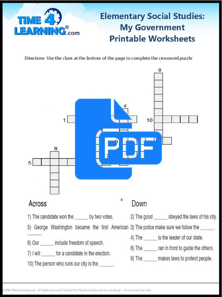 Free social studies printable worksheet