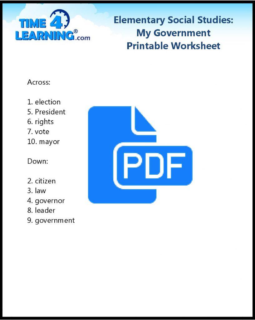 Free printable social studies worksheet - key